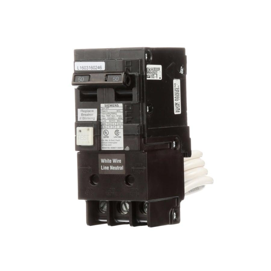 Siemens Qp 50 Amp 2 Pole Gfci Circuit Breaker At Vs