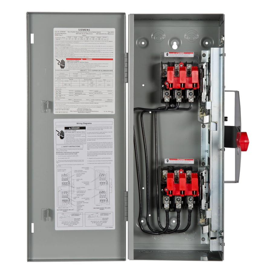 siemens 30-amp non-fusible metallic safety switch at lowes.com double pole double throw wiring  diagram double pole double throw disconnect diagram