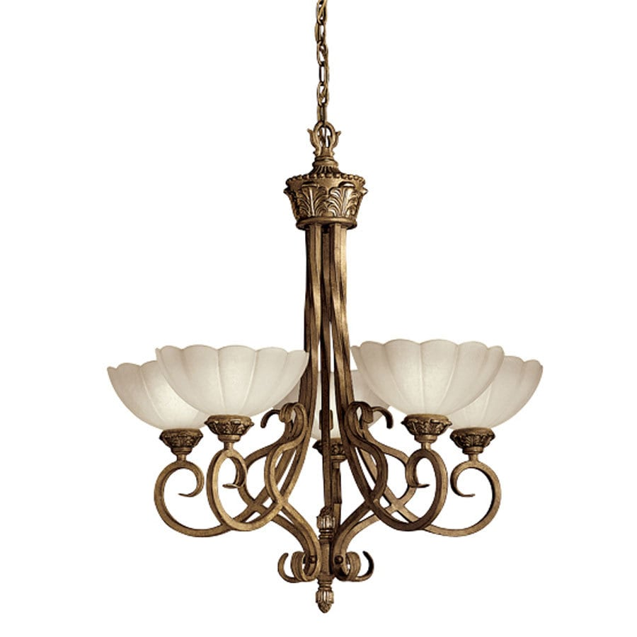 Portfolio 30-in 5-Light Brulee Tinted Glass Chandelier