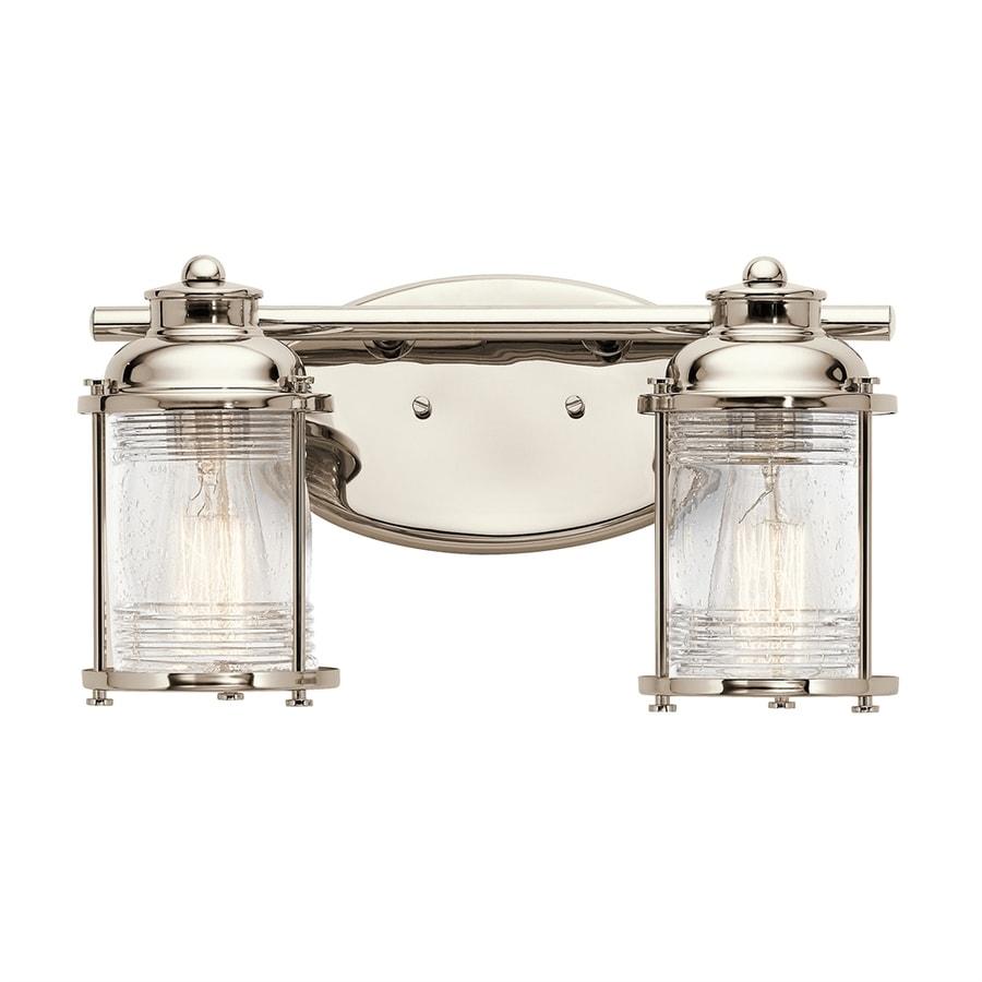 Kichler Ashland Bay Outdoor Pedestal Lantern Weathered: Kichler Ashland Bay 2-Light 14.25-in Polished Nickel Jar