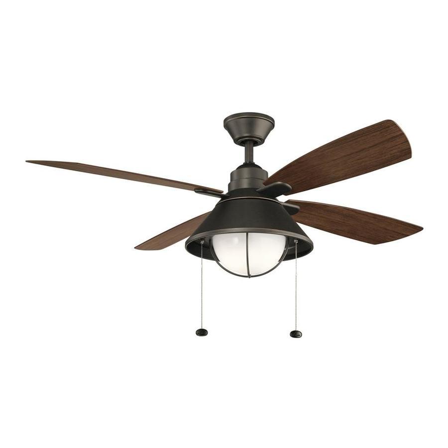 52 Ceiling Fan With Light Kit Indoor Outdoor Downrod: Kichler Seaside 52-in Olde Bronze LED Indoor/Outdoor