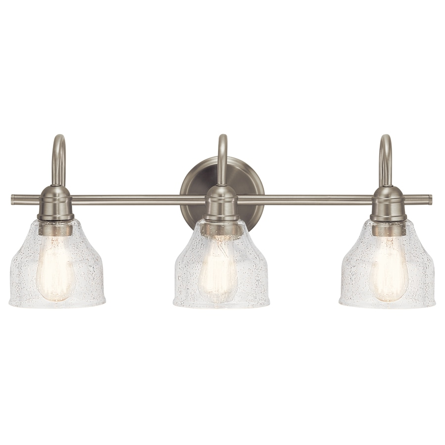 Kichler Avery 3 Light Nickel Farmhouse Vanity Light In The Vanity Lights Department At Lowes Com