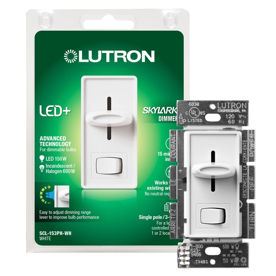 Lutron Skylark 150-Watt Single Pole 3-Way White Indoor Dimmer