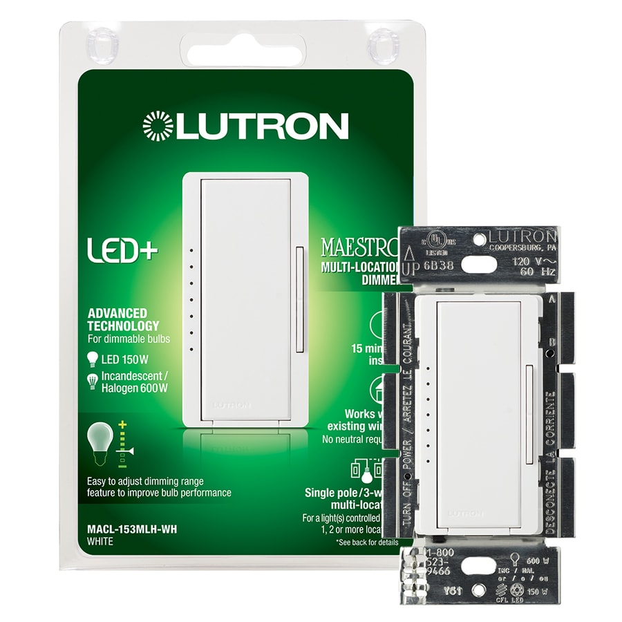 Lutron Maestro 150-Watt Double Pole 3-Way/4-Way White Tap Indoor Dimmer