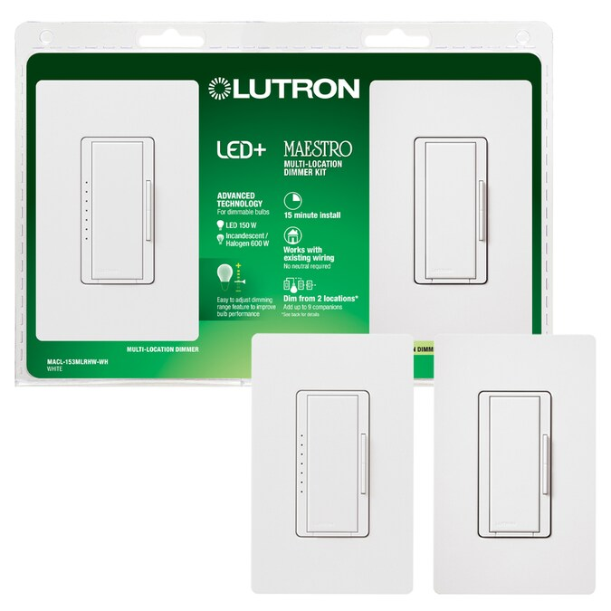 Lutron Maestro Multi-location White LED Decorator Light Dimmer Kit with  Wall Plate (2-Pack) in the Light Dimmers department at Lowes.comLowe's
