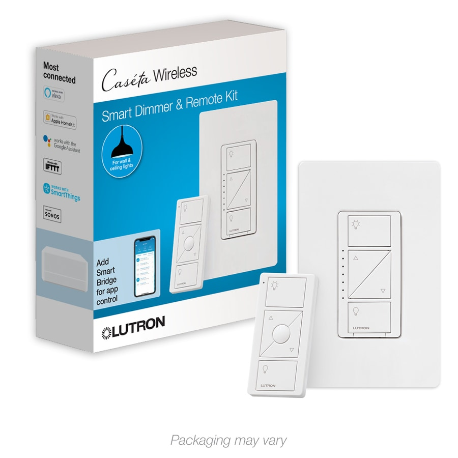 lutron caseta wireless 150watt double pole 3way wireless white touch indoor dimmer