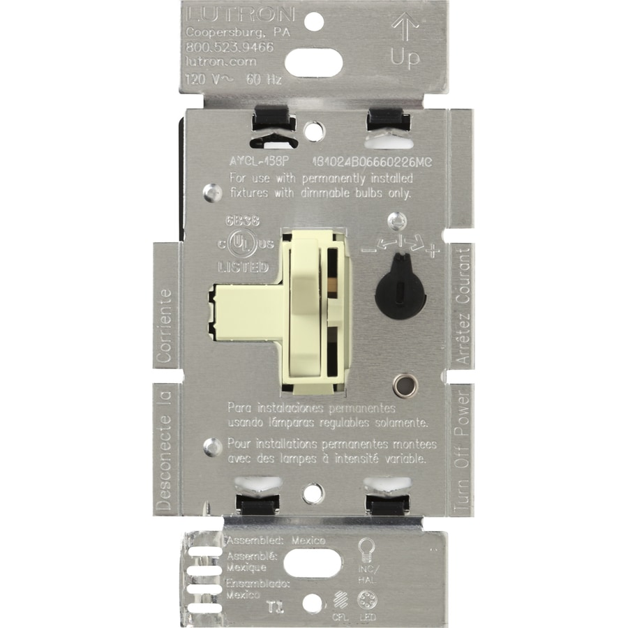 Lutron Toggler 240-Watt Single Pole 3-Way Almond Indoor Toggle Dimmer