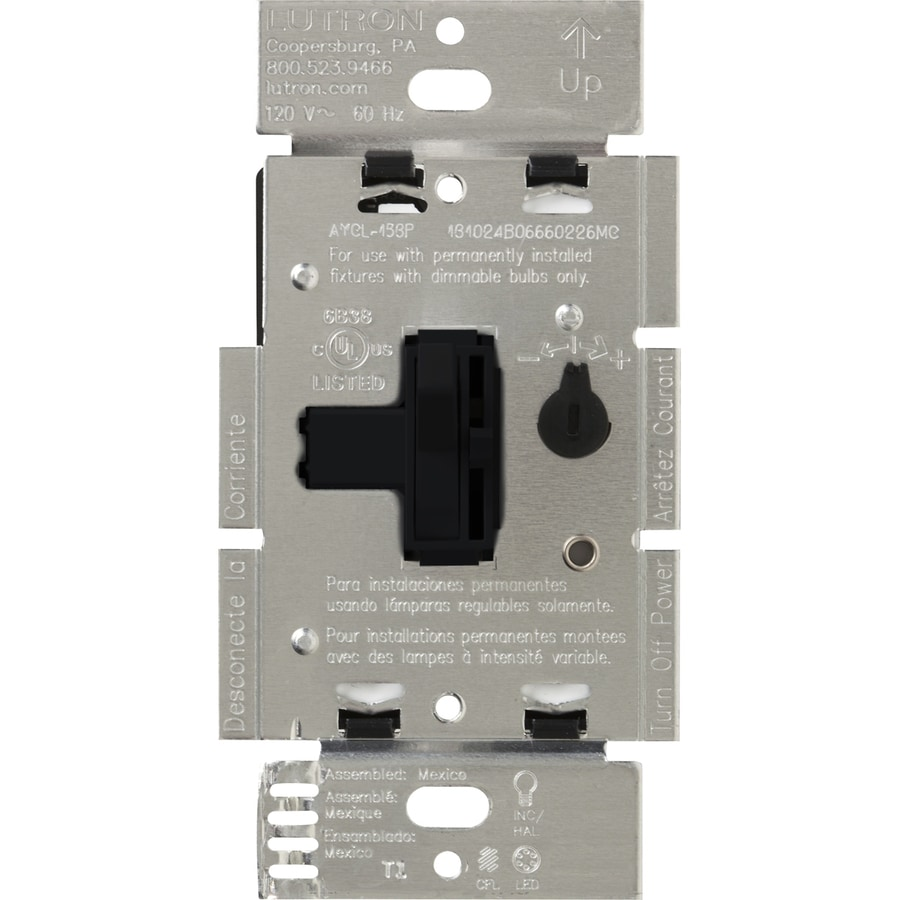 Lutron Toggler 240-watt Single Pole 3-way Black Toggle Indoor Dimmer
