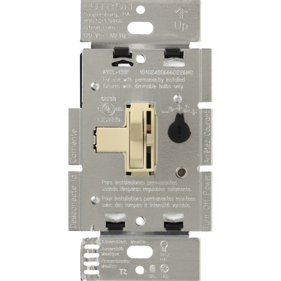 Lutron Toggler 240-watt Single Pole 3-way Ivory Toggle Indoor Dimmer