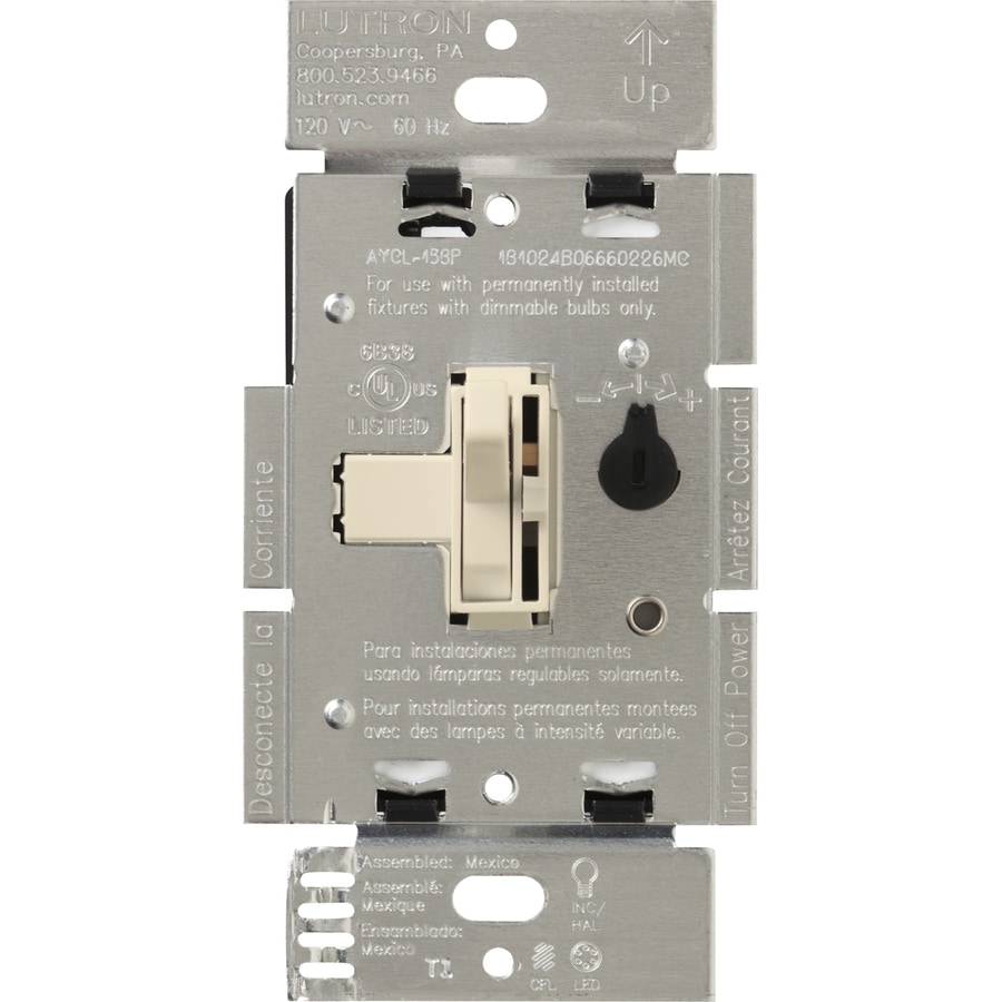 Lutron Toggler 240-Watt Single Pole 3-Way Light Almond Toggle Indoor Dimmer