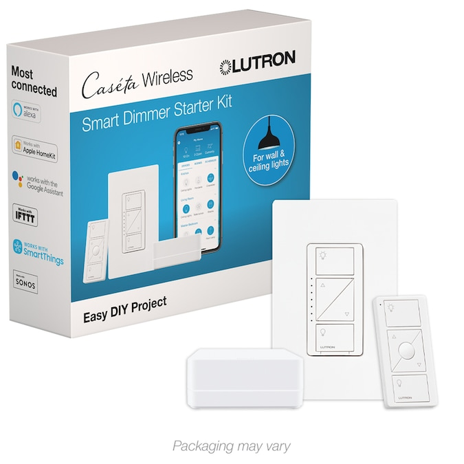 Lutron Caseta Wireless Single-Pole/3-Way White Smart LED Decorator Light  Dimmer Starter Kit with Smart Hub with Wall Plate in the Light Dimmers  department at Lowes.comLowe's