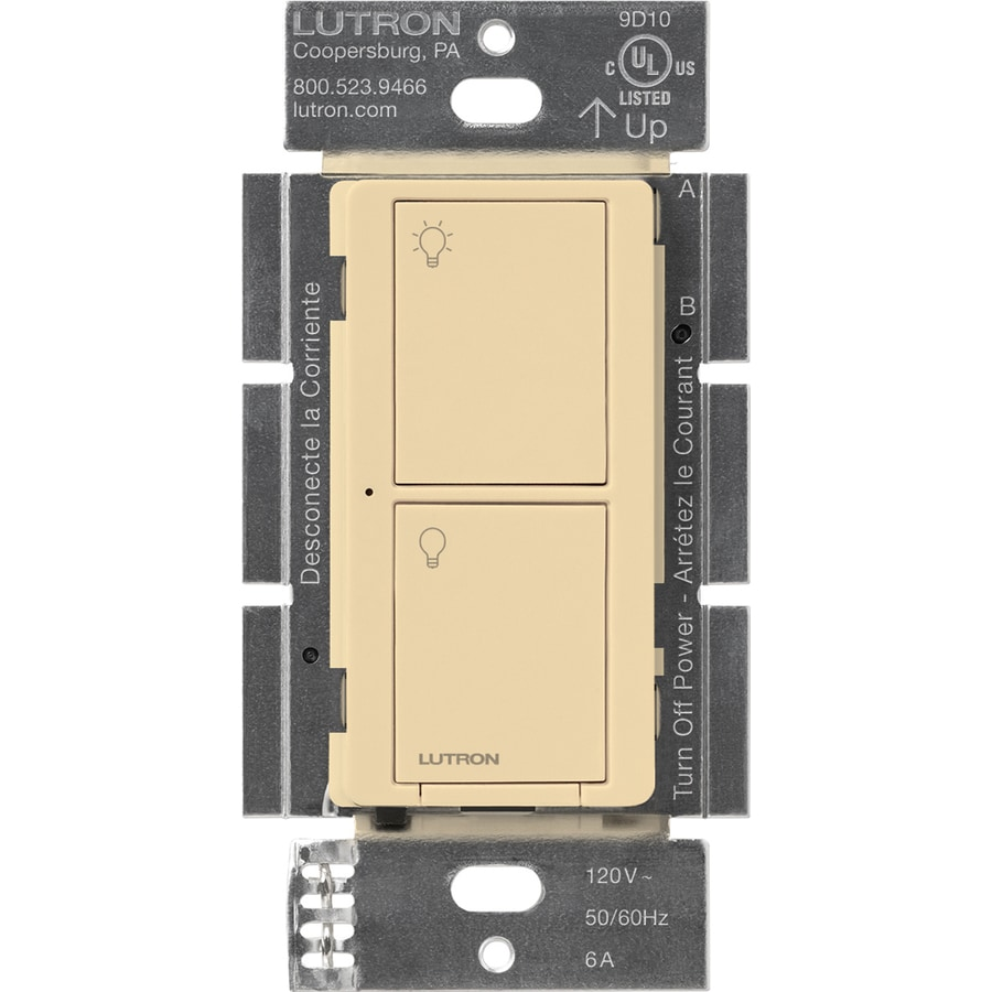 Lutron Caseta Wireless 6-Amp Single Pole 3-Way Wireless Ivory Touch Indoor Light Switch
