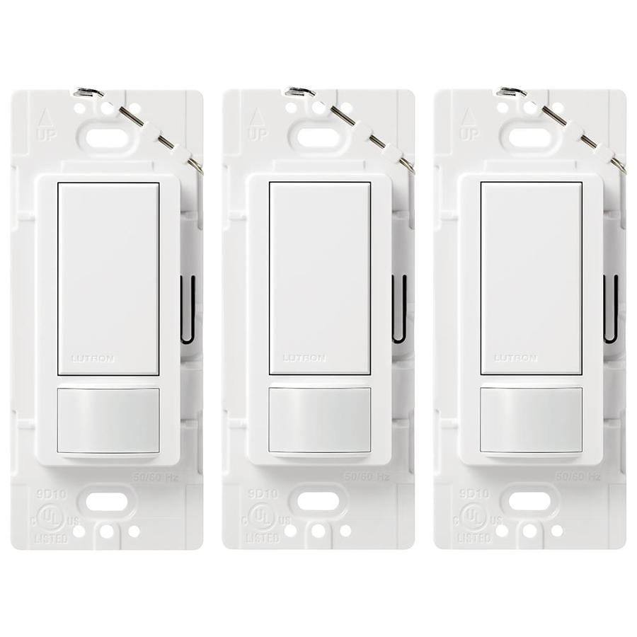 Lutron Maestro 3-Pack 3-Switch 5-Amp 3-Way Double Pole White Indoor Motion Occupancy Sensors