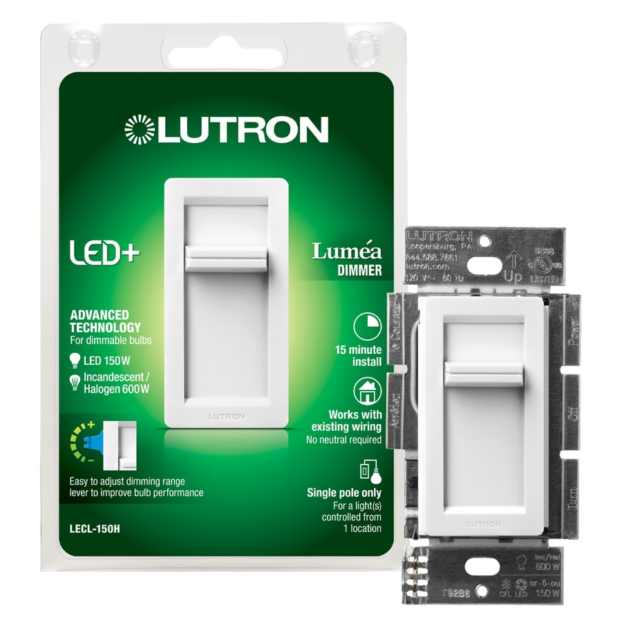 Below Is A Single Pole Dimmer Switch Controlling Flourescent Light Shop Lutron Lumea 150 Watt White Compatible With Led