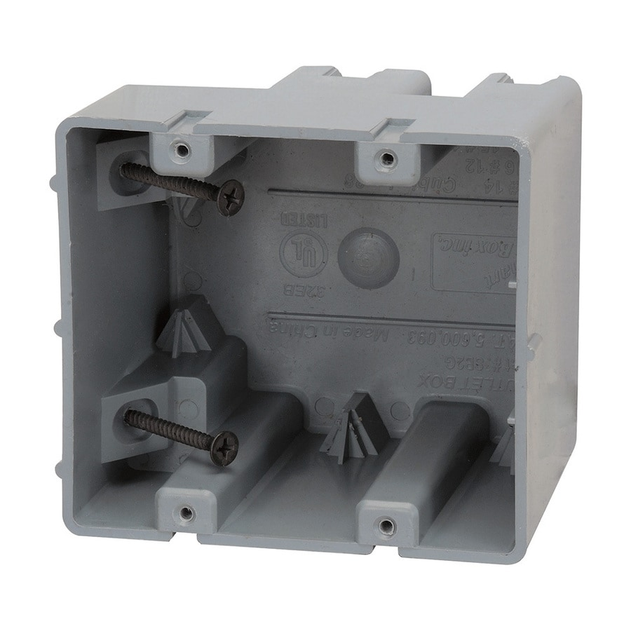 Madison Electric Products Original 2-Gang Gray PVC Interior New Work/Old Work Standard Adjustable Wall Electrical Box