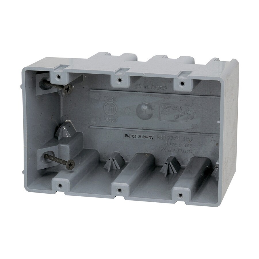 Madison Electric Products Original 3-Gang Gray PVC Interior New Work/Old Work Standard Adjustable Wall Electrical Box