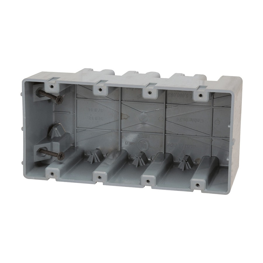 Madison Electric Products Original 4-Gang Gray PVC Interior New Work/Old Work Standard Adjustable Wall Electrical Box