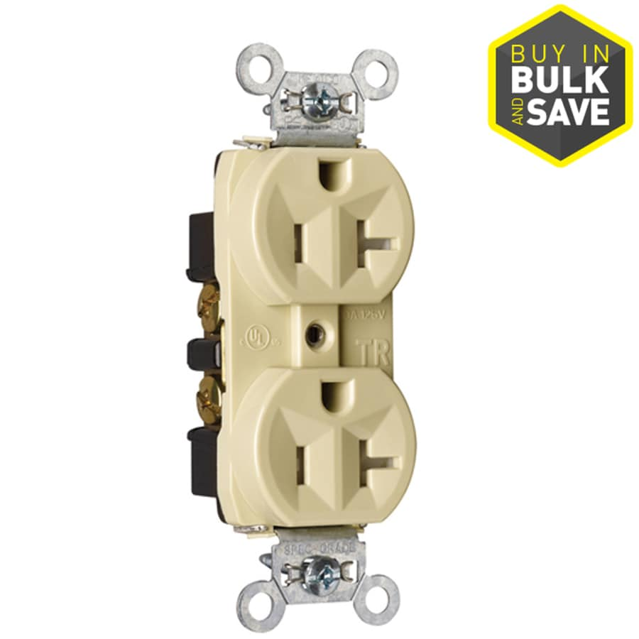 Pass & Seymour/Legrand 20-Amp 125-Volt Ivory Indoor Duplex Wall Tamper Resistant Outlet