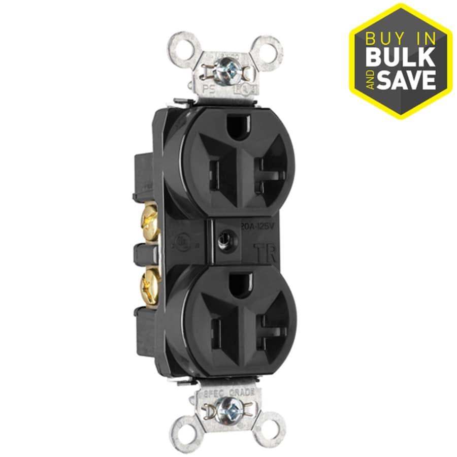 Pass & Seymour/Legrand 20-Amp 125-Volt Black Indoor Duplex Wall Tamper Resistant Outlet