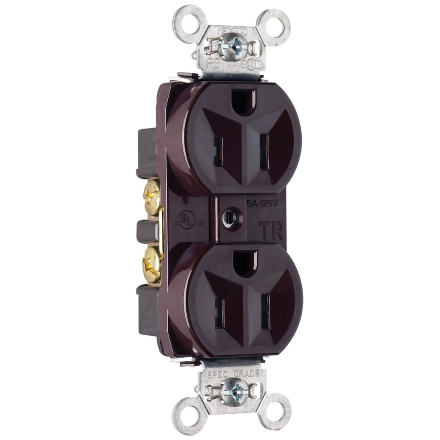 Pass & Seymour/Legrand 15-Amp 125-Volt Brown Indoor Duplex Wall Tamper Resistant Outlet