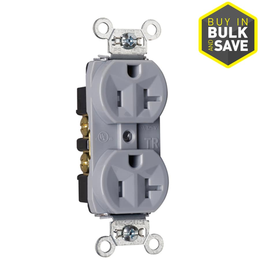 Pass & Seymour/Legrand 20-Amp 125-Volt Gray Indoor Duplex Wall Tamper Resistant Outlet