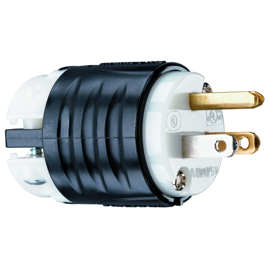 Shop Electrical Plugs Connectors At Wiring An Outlet Without Ground Legrand 15 Amp 125 Volt Black White 3 Wire Grounding Plug