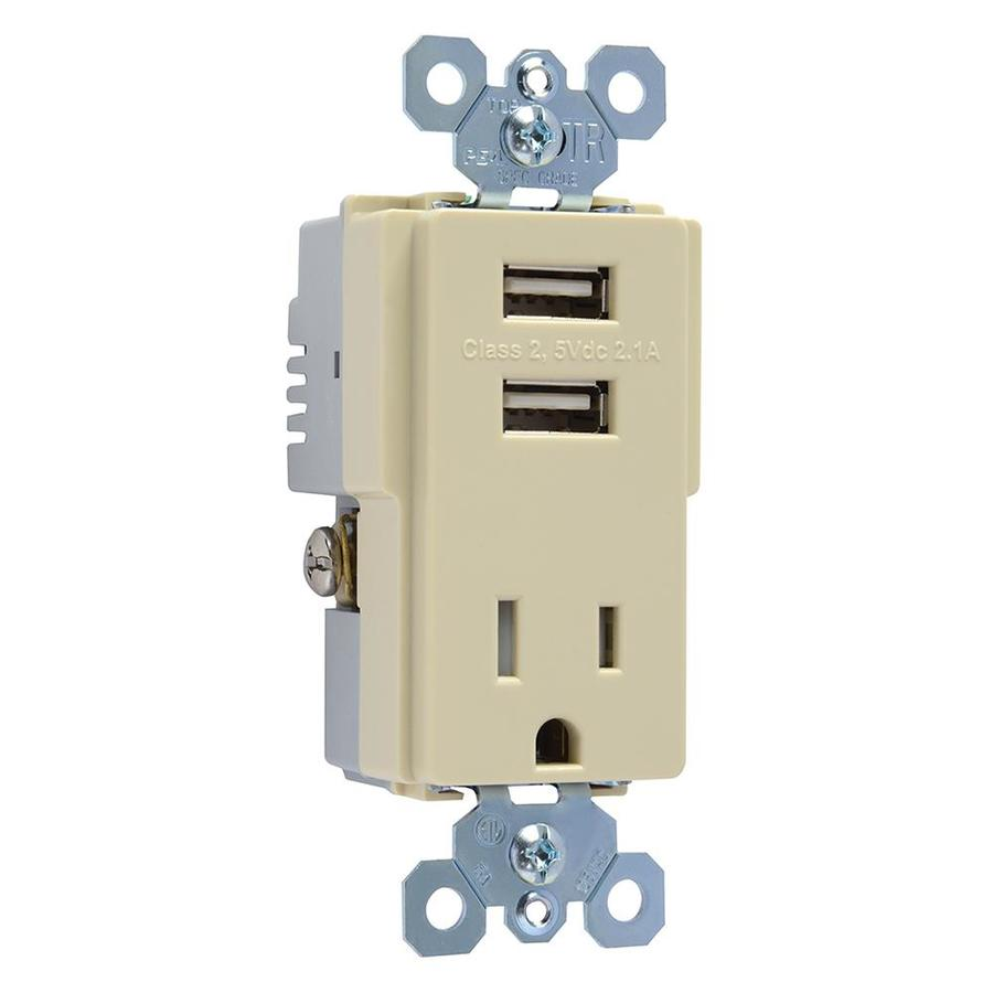 Pass & Seymour/Legrand TradeMaster 15-Amp 125-Volt Ivory Decorator Tamper Resistant Electrical Outlet