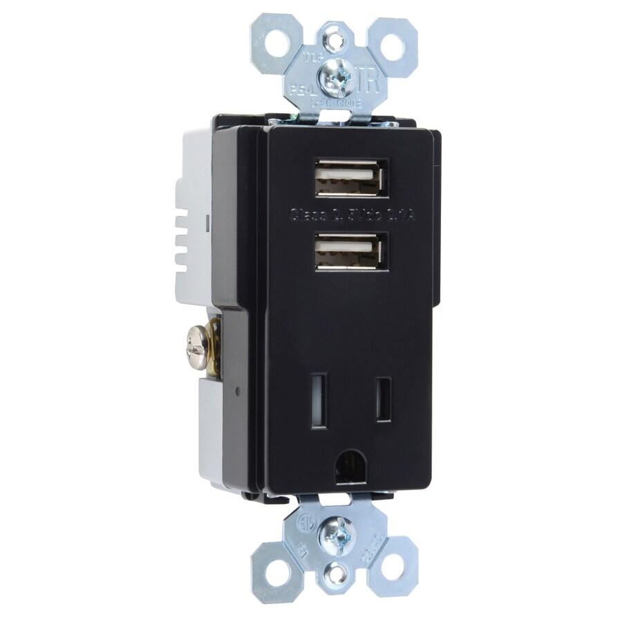 Pass & Seymour/Legrand TradeMaster 15-Amp 125-Volt Black Decorator Tamper Resistant Electrical Outlet