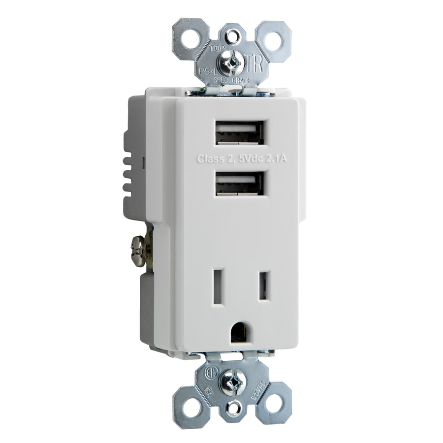 Pass & Seymour/Legrand 15-Amp Trademaster White Decorator Triple Electrical Outlet