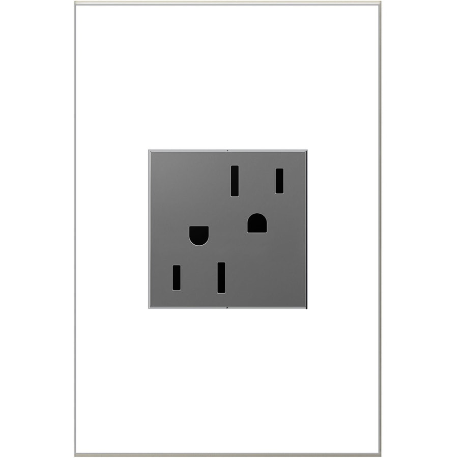 shop electrical outlets at com legrand adorne 15 amp 125 volt magnesium indoor square wall tamper resistant outlet