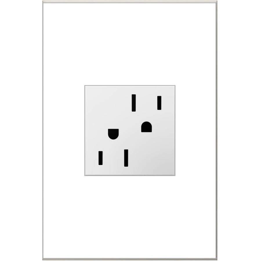 Legrand 15-Amp Adorne White Square Duplex Electrical Outlet