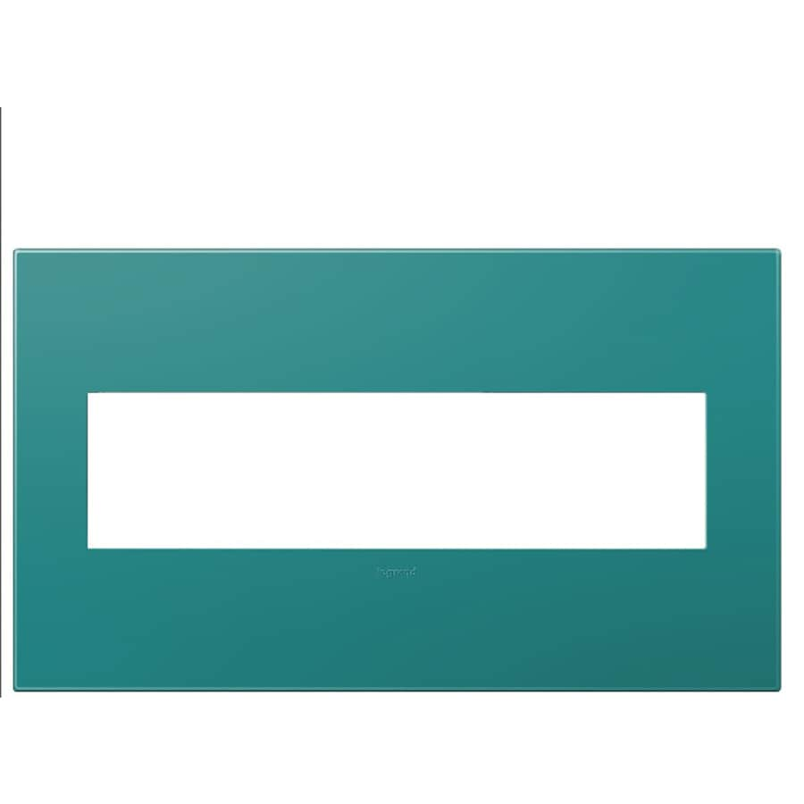 Legrand adorne 4-Gang Turquoise Quad Square Wall Plate