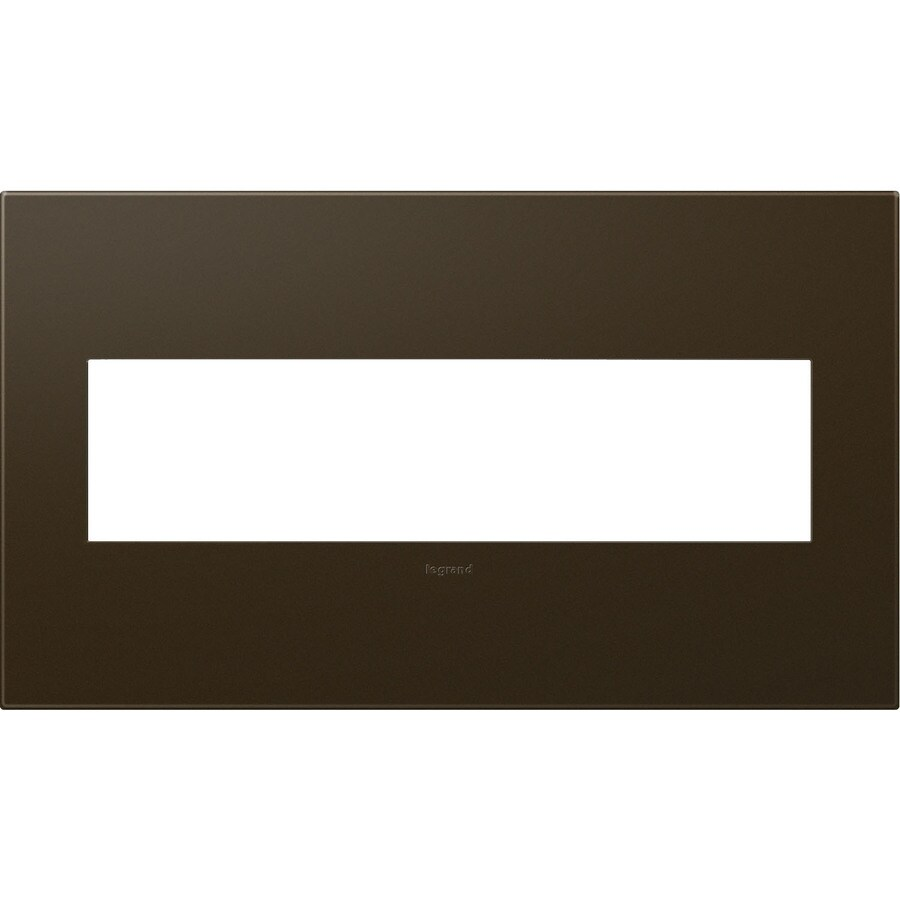 Legrand adorne 4-Gang Bronze Quad Square Wall Plate