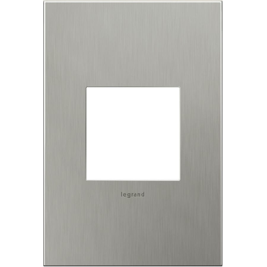 Legrand adorne 1-Gang Brushed Stainless Steel Single Square Wall Plate