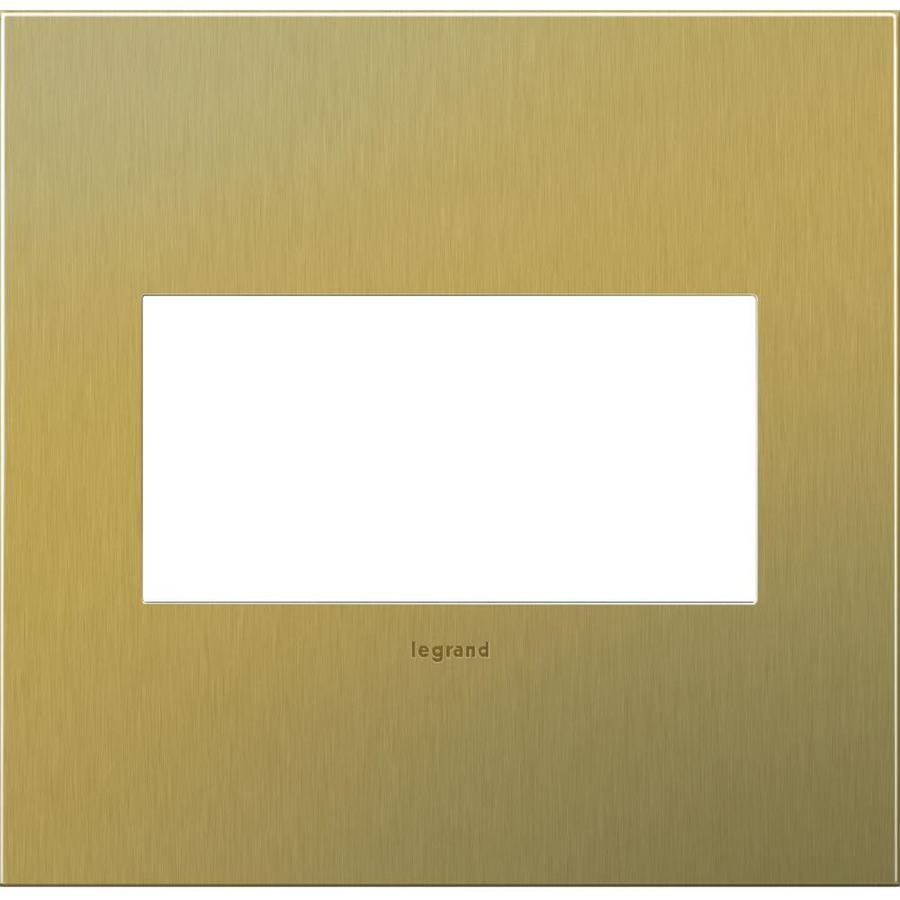 Legrand adorne 2-Gang Brushed Brass Double Square Wall Plate