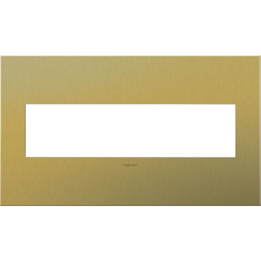 Legrand adorne 4-Gang Brushed Brass Quad Square Wall Plate