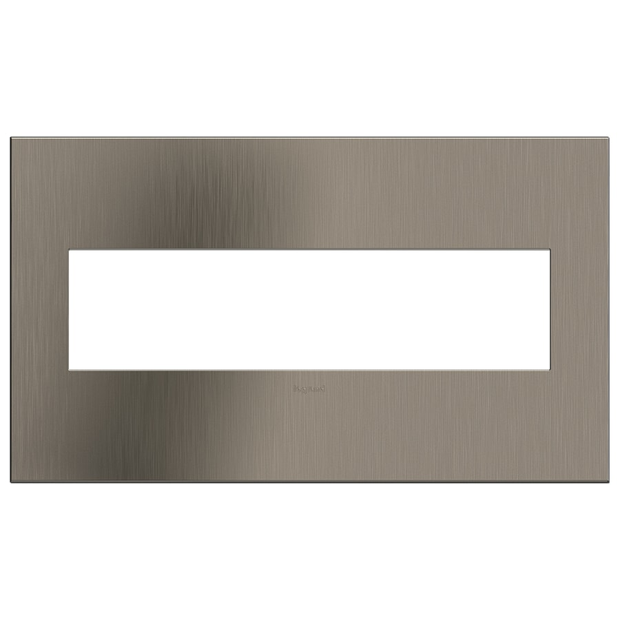 Legrand adorne 4-Gang Satin Nickel Quad Square Wall Plate
