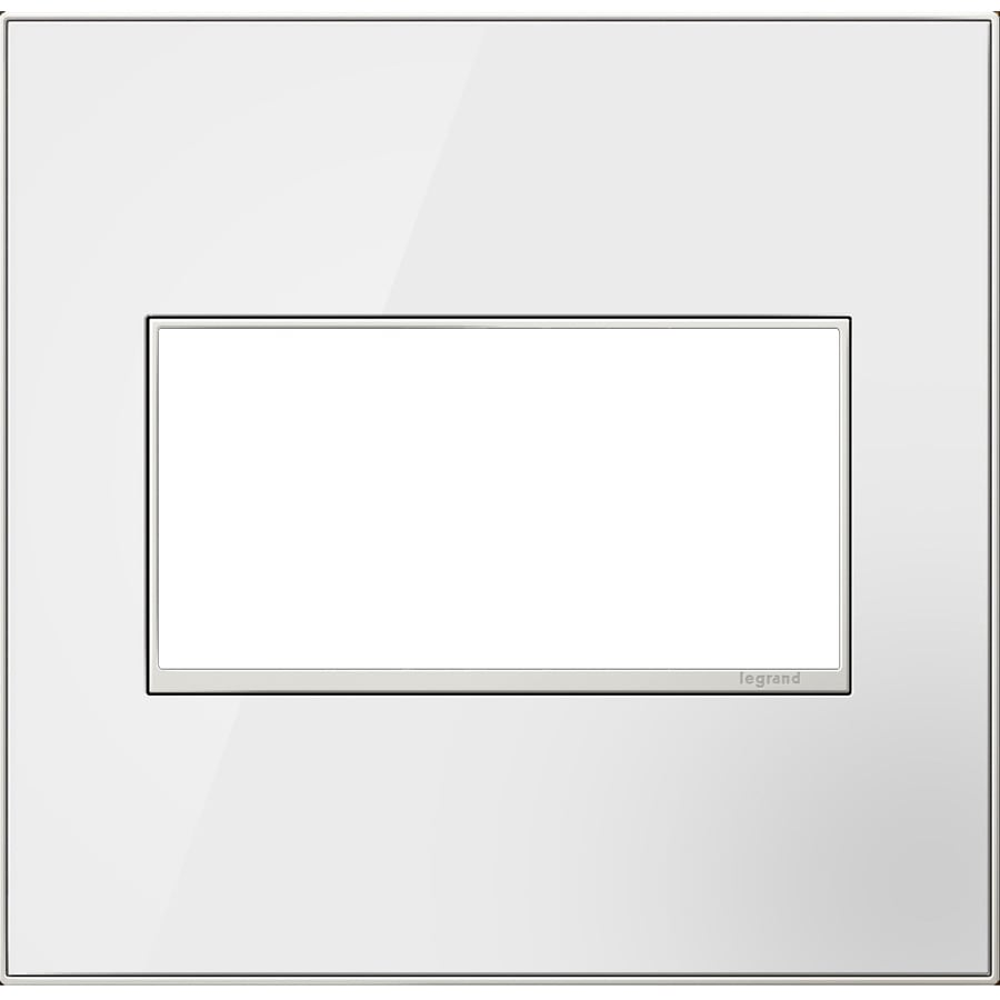 Legrand adorne 2-Gang Mirror White Double Square Wall Plate