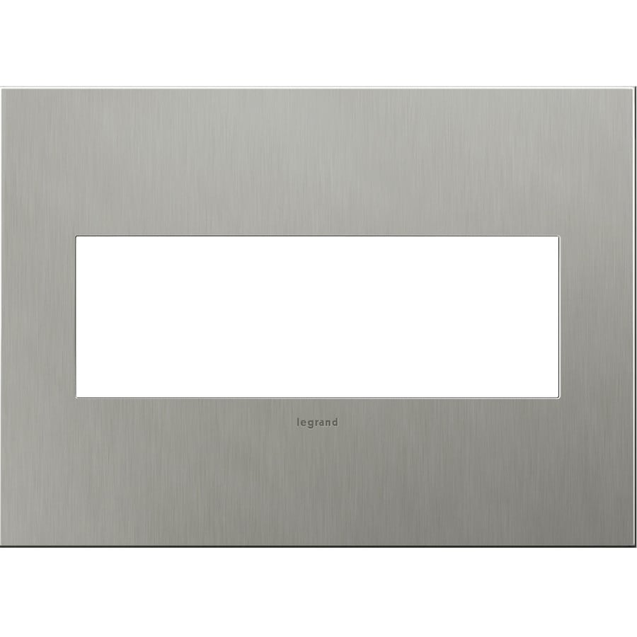 Legrand adorne 3-Gang Brushed Stainless Steel Triple Square Wall Plate