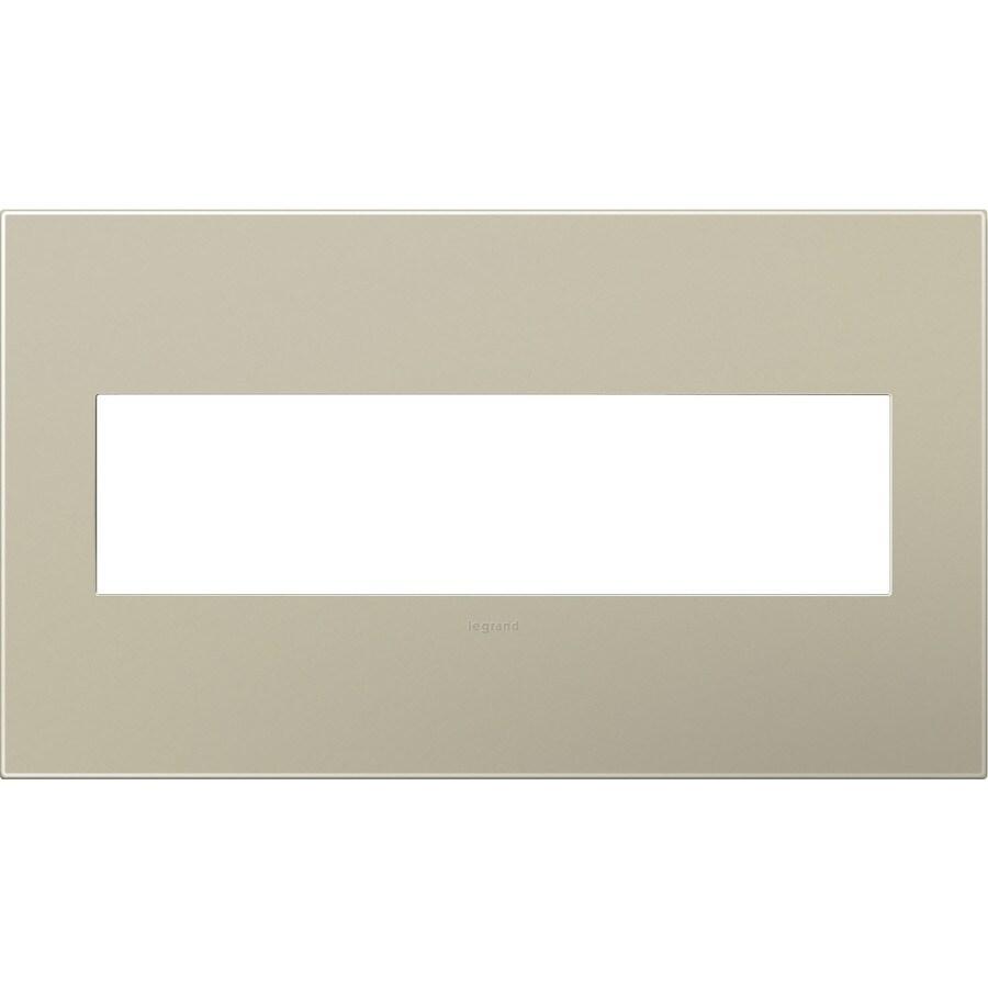 Legrand adorne 4-Gang Titanium Quad Square Wall Plate