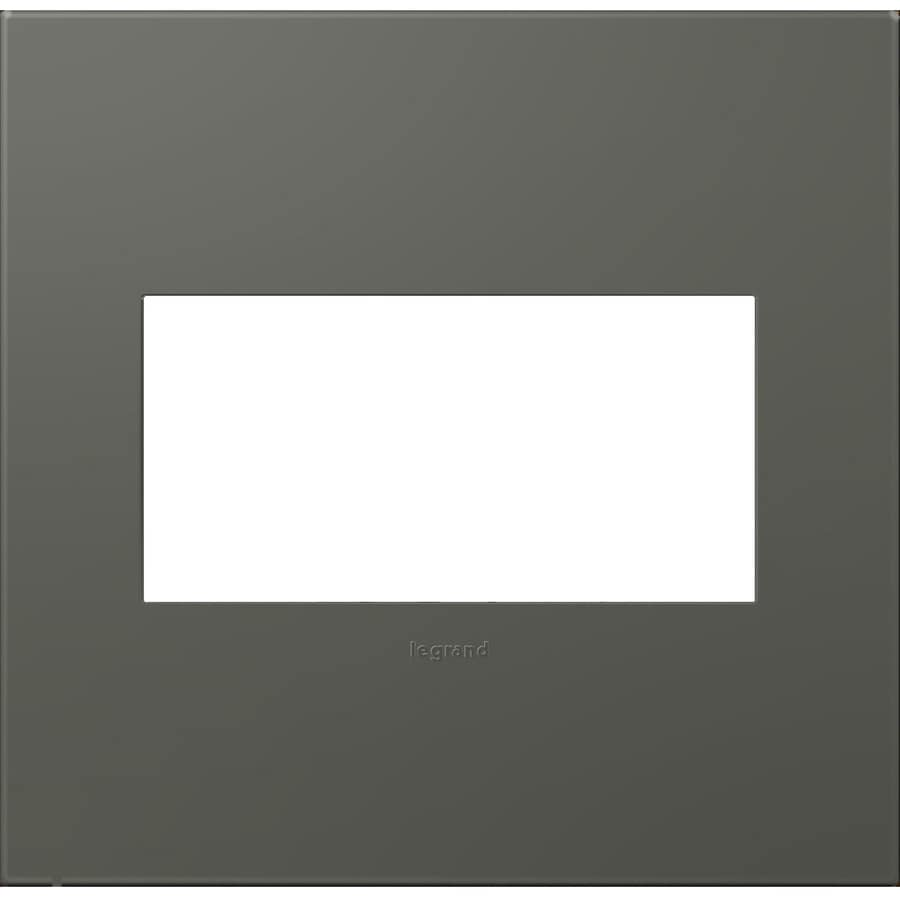 Legrand adorne 2-Gang Soft Touch Moss Grey Double Square Wall Plate