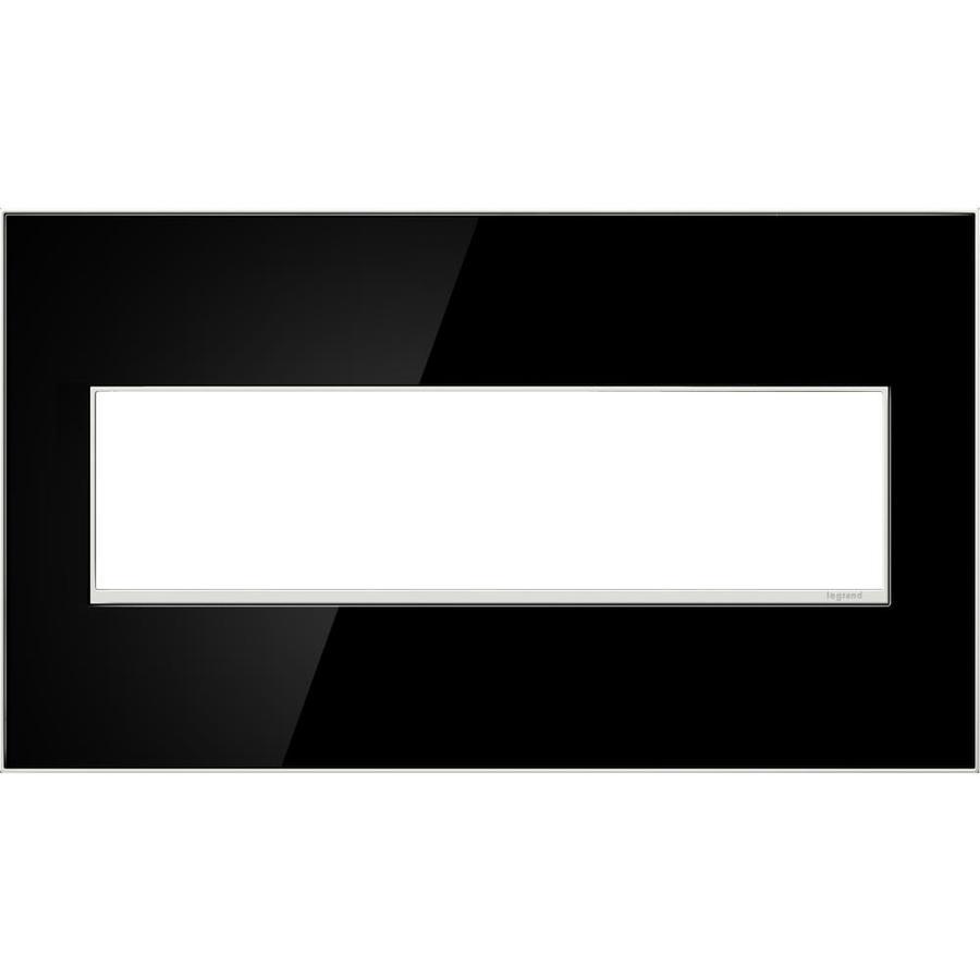 Legrand adorne 4-Gang Mirror Black Quad Square Wall Plate
