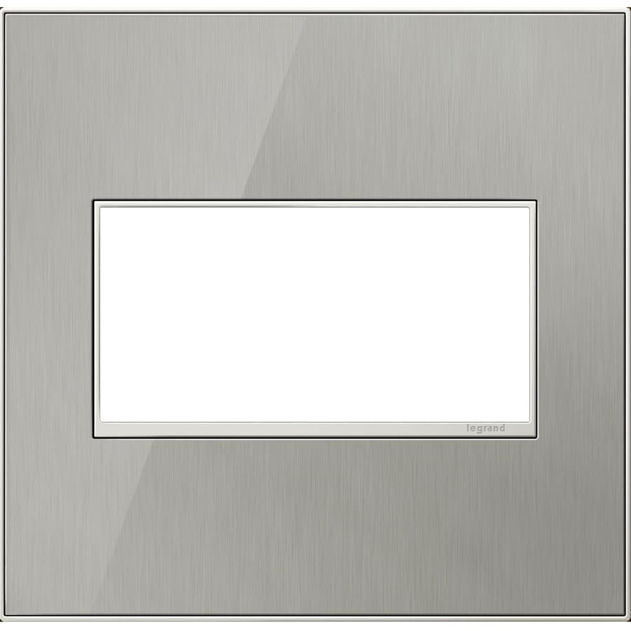 Legrand adorne 2-Gang Brushed Stainless Double Square Wall Plate