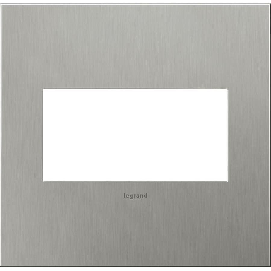 Legrand adorne 2-Gang Brushed Stainless Steel Double Square Wall Plate