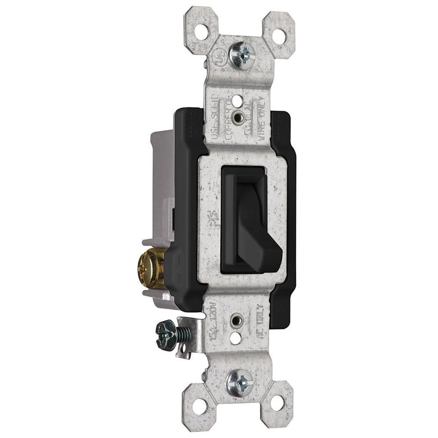Pass & Seymour/Legrand 15-Amp Single Pole 3-Way Black Indoor Framed Toggle Light Switch