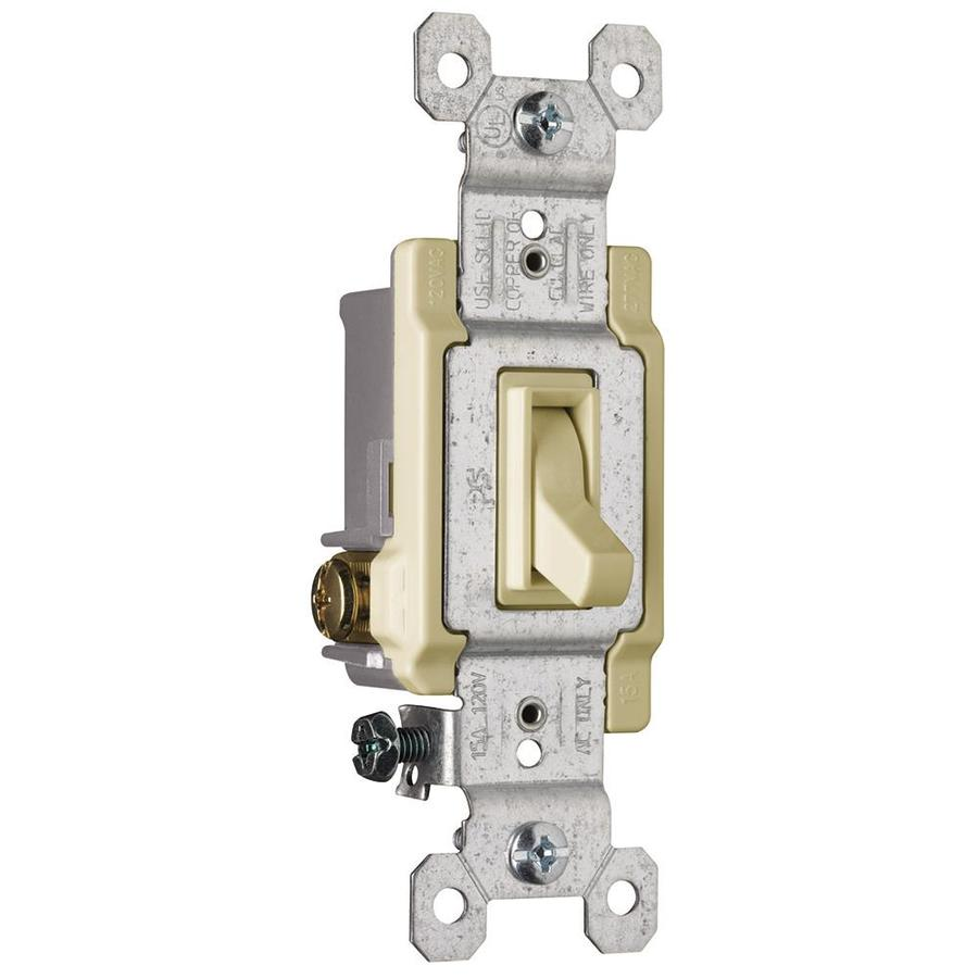 Pass & Seymour/Legrand 15-Amp Single Pole 3-Way Ivory Indoor Framed Toggle Light Switch