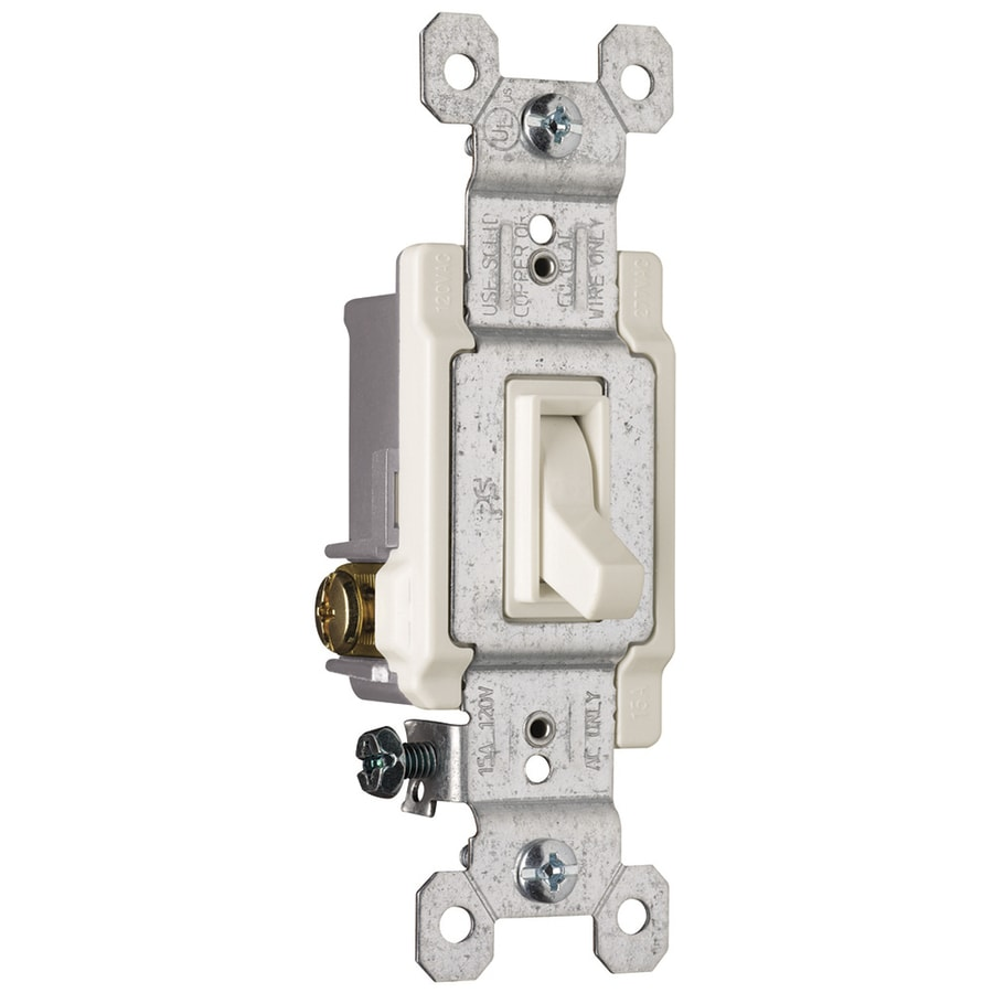 Pass & Seymour/Legrand 15-Amp Single Pole 3-Way Light Almond Indoor Framed Toggle Light Switch