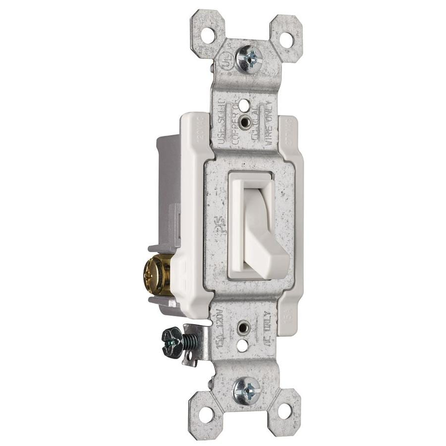 Pass & Seymour/Legrand 15-Amp Single Pole 3-Way White Indoor Framed Toggle Light Switch