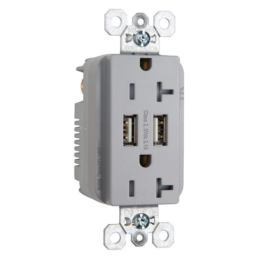 Shop Legrand 20-Amp 125-volt Gray Decorator Tamper Resistant Outlet ...