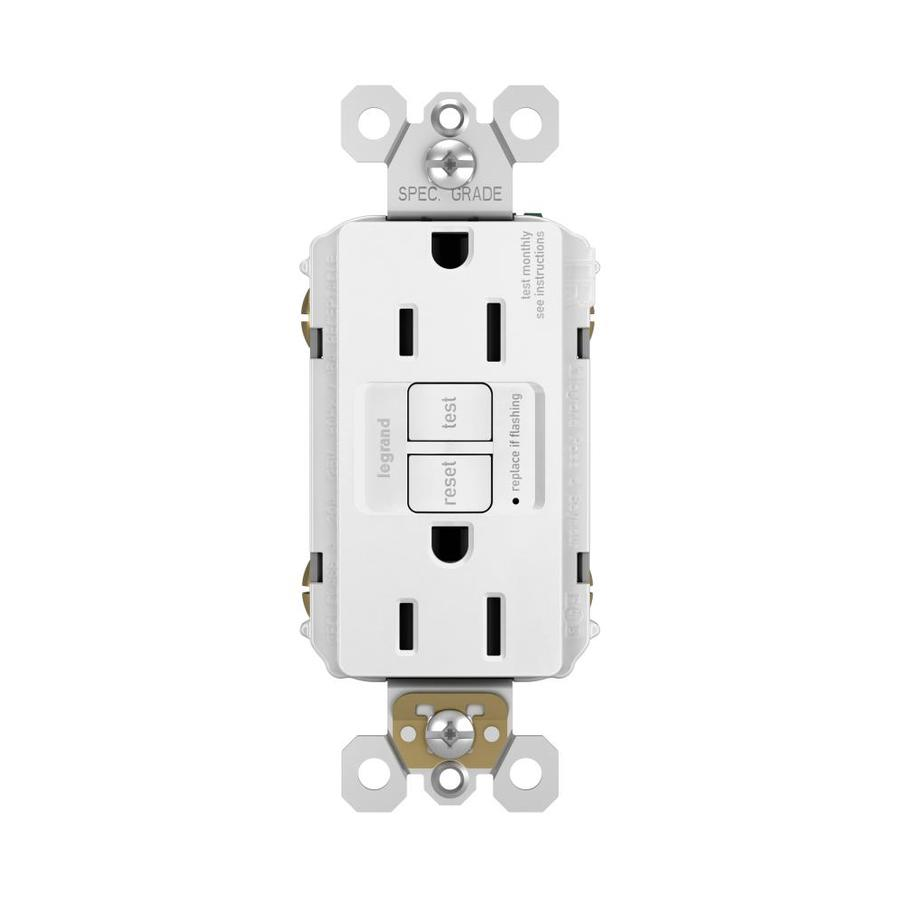 Pass & Seymour/Legrand 15-Amp 125-Volt White GFCI Decorator Tamper Resistant Electrical Outlet